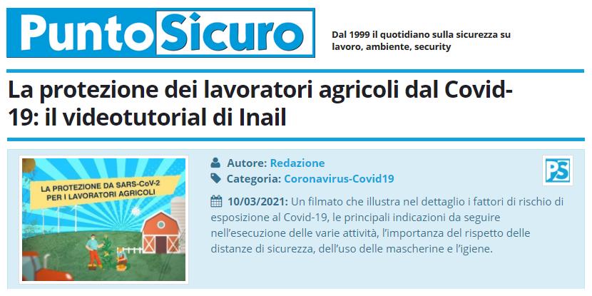 PuntoSicuro - La protezione dei lavoratori agricoli dal Covid-19: il videotutorial di Inail