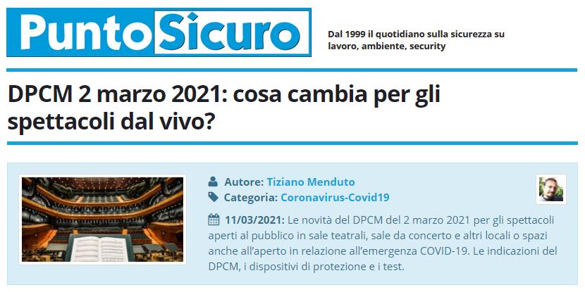 PuntoSicuro - DPCM 2 marzo 2021: cosa cambia per gli spettacoli dal vivo?