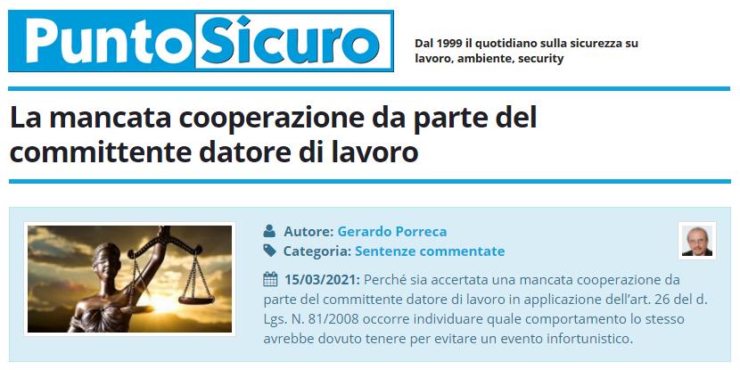 PuntoSicuro - La mancata cooperazione da parte del committente datore di lavoro