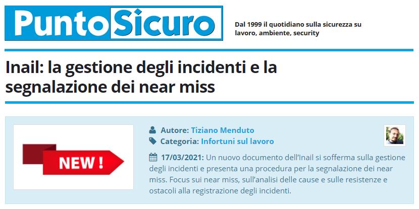 PuntoSicuro - Inail: la gestione degli incidenti e la segnalazione dei near miss