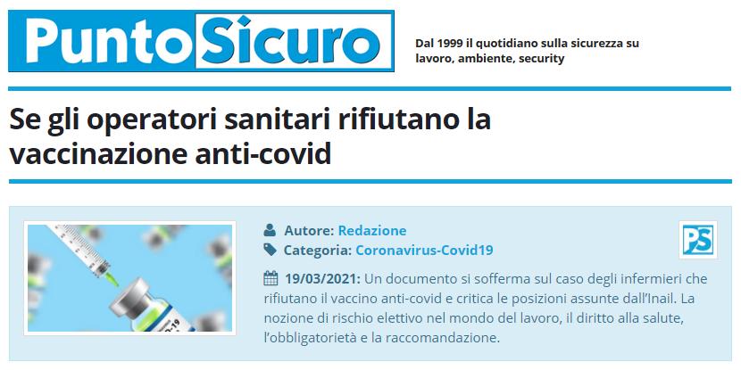 PuntoSicuro - Se gli operatori sanitari rifiutano la vaccinazione anti-covid