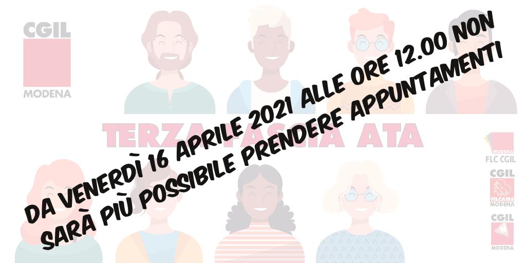 Terza fascia ATA - Da venerdì 16 aprile 2021, ore 12.00 non sarà più possibile prendere appuntamenti