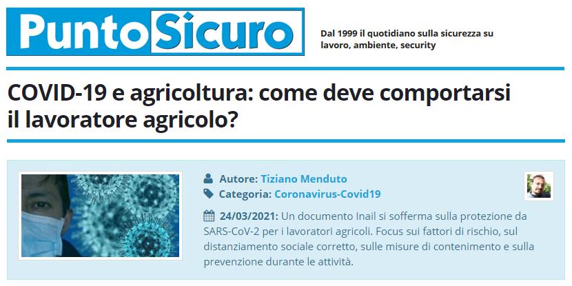 PuntoSicuro - COVID-19 e agricoltura: come deve comportarsi il lavoratore agricolo