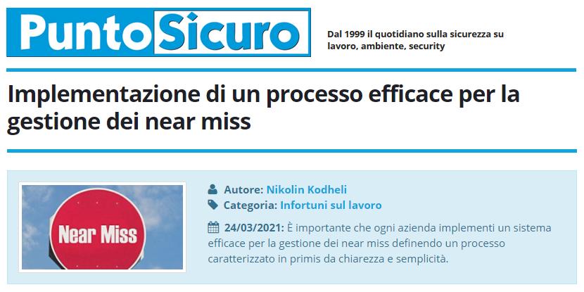 PuntoSicuro - Implementazione di un processo efficace per la gestione dei near miss
