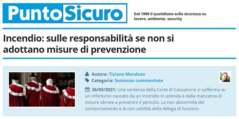 PuntoSicuro - Incendio: sulle responsabilità se non si adottano misure di prevenzione