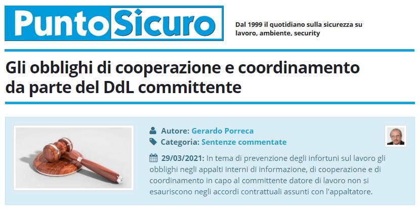 PuntoSicuro - Gli obblighi di cooperazione e coordinamento da parte del DdL committente