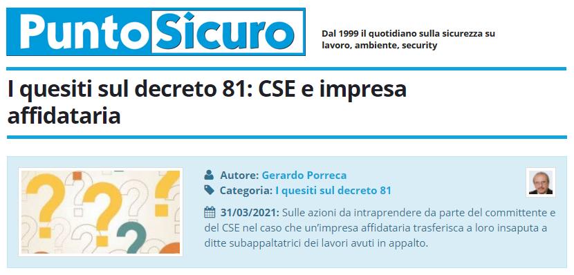 PuntoSicuro - I quesiti sul decreto 81: CSE e impresa affidataria