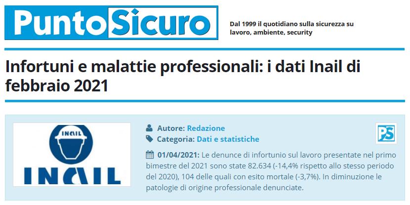 PuntoSicuro - Infortuni e malattie professionali: i dati Inail di febbraio 2021