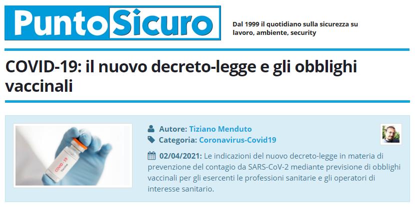 PuntoSicuro - COVID-19: il nuovo decreto-legge e gli obblighi vaccinali