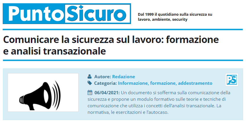 PuntoSicuro - Comunicare la sicurezza sul lavoro: formazione e analisi transazionale