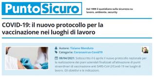PuntoSicuro - COVID-19: il nuovo protocollo per la vaccinazione nei luoghi di lavoro
