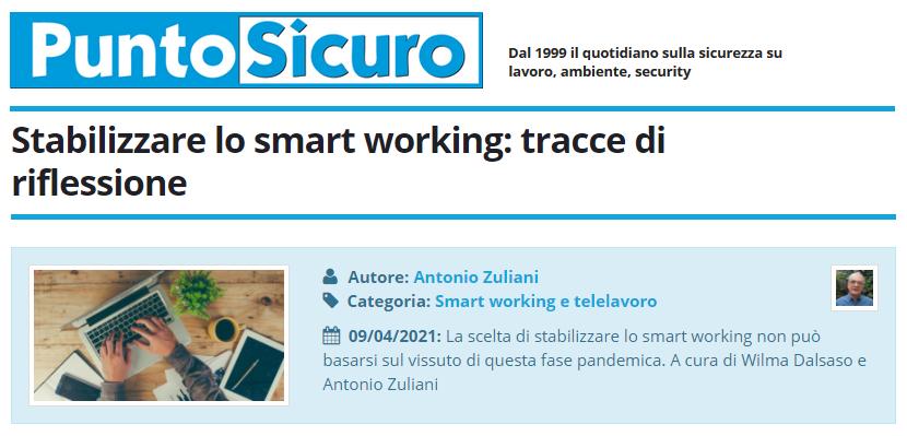 PuntoSicuro - Stabilizzare lo smart working: tracce di riflessione