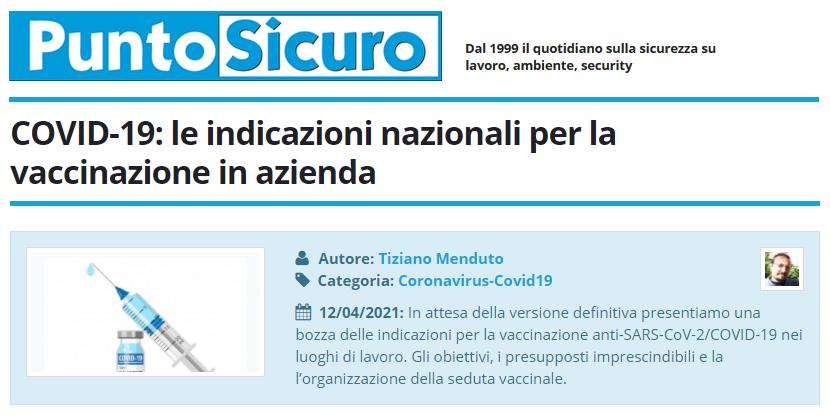 PuntoSicuro - COVID-19: le indicazioni nazionali per la vaccinazione in azienda