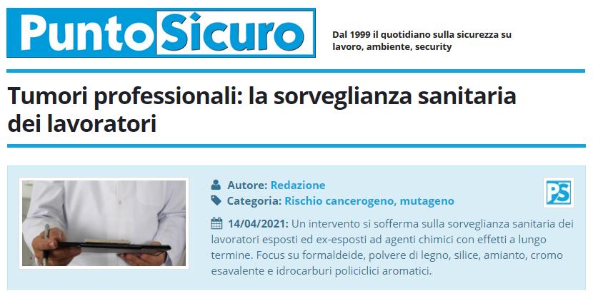 PuntoSicuro - Tumori professionali: la sorveglianza sanitaria dei lavoratori