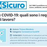 PuntoSicuro - Vaccinazione COVID-19: quali sono i requisiti per i luoghi di lavoro?
