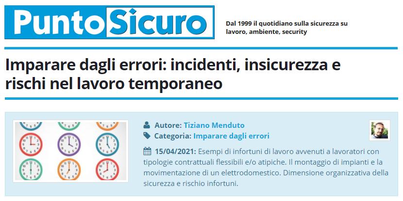 PuntoSicuro - Imparare dagli errori: incidenti, insicurezza e rischi nel lavoro temporaneo