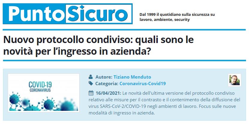 PuntoSicuro - Nuovo protocollo condiviso: quali sono le novità per l'ingresso in azienda?