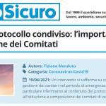 PuntoSicuro - Cantieri e protocollo condiviso: l'importanza dell'istituzione dei Comitati