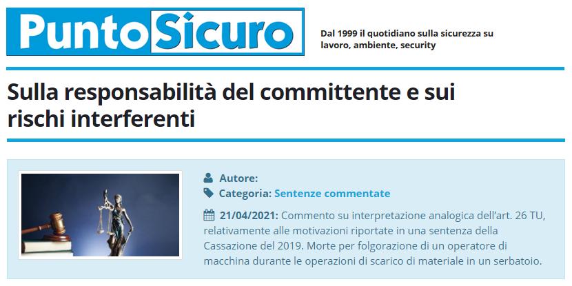 PuntoSicuro - Sulla responsabilità del committente e sui rischi interferenti