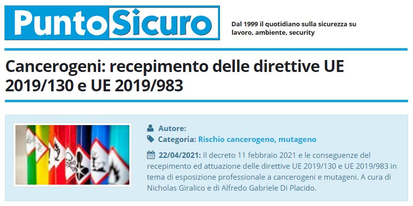 PuntoSicuro - Cancerogeni: recepimento delle direttive UE 2019/130 e UE 2019/983