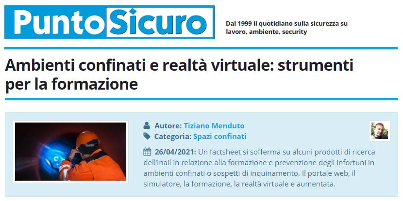 PuntoSicuro - Ambienti confinati e realtà virtuale: strumenti per la formazione