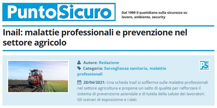 PuntoSicuro - Inail: malattie professionali e prevenzione nel settore agricolo