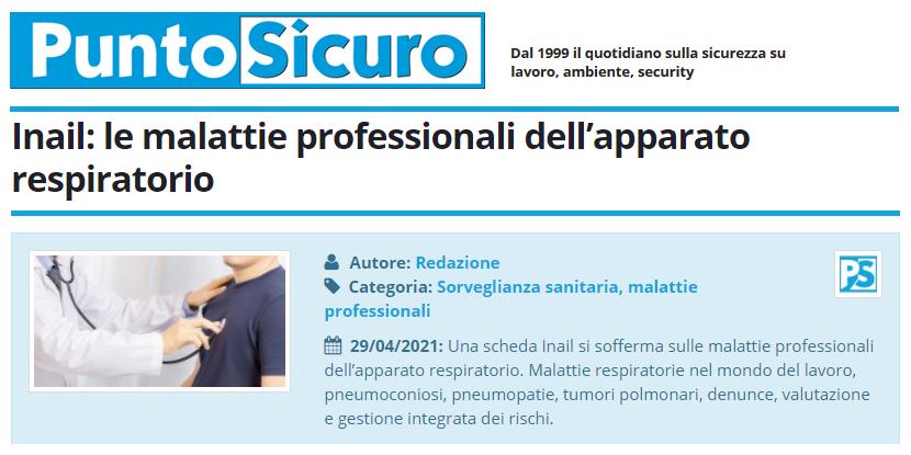 PuntoSicuro - Inail: le malattie professionali dell'apparato respiratorio