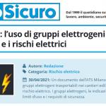 PuntoSicuro - Cantieri edili: l'uso di gruppi elettrogeni trasportabili e i rischi elettrici