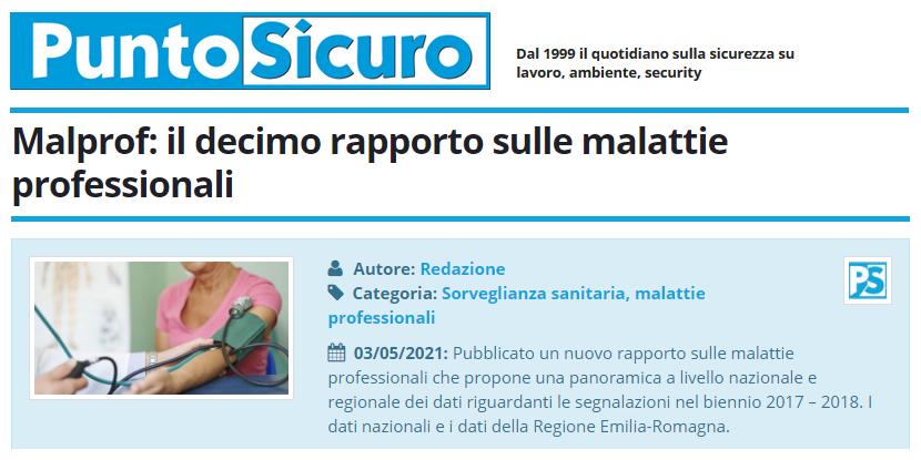 PuntoSicuro - Malprof: il decimo rapporto sulle malattie professionali