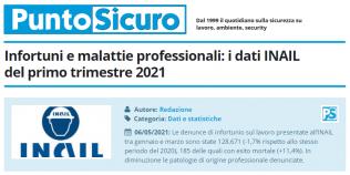 PuntoSicuro - Infortuni e malattie professionali: i dati INAIL del primo trimestre 2021