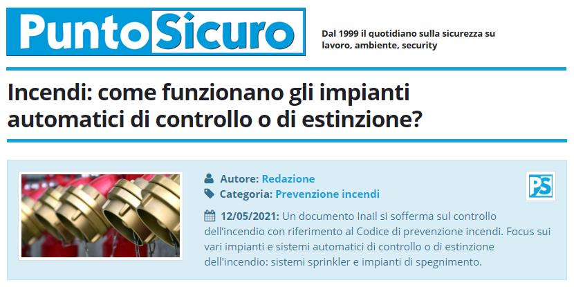 PuntoSicuro - Incendi: come funzionano gli impianti automatici di controllo o di estinzione?