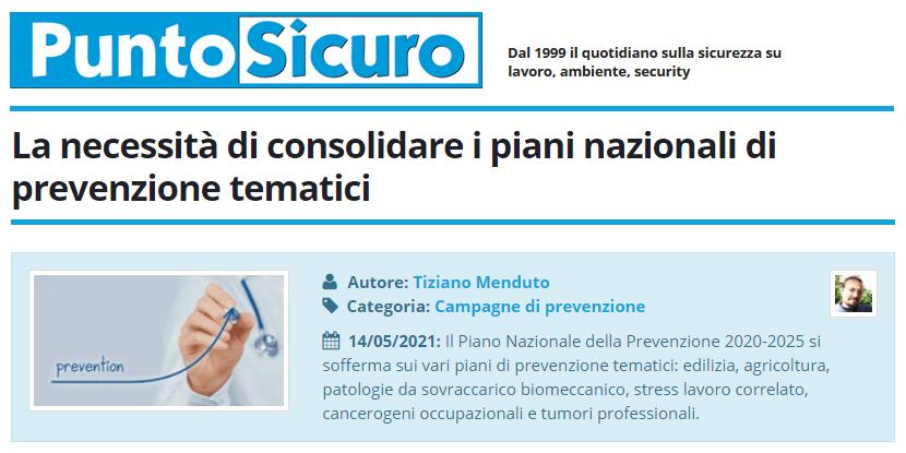 PuntoSicuro - La necessità di consolidare i piani nazionali di prevenzione tematici