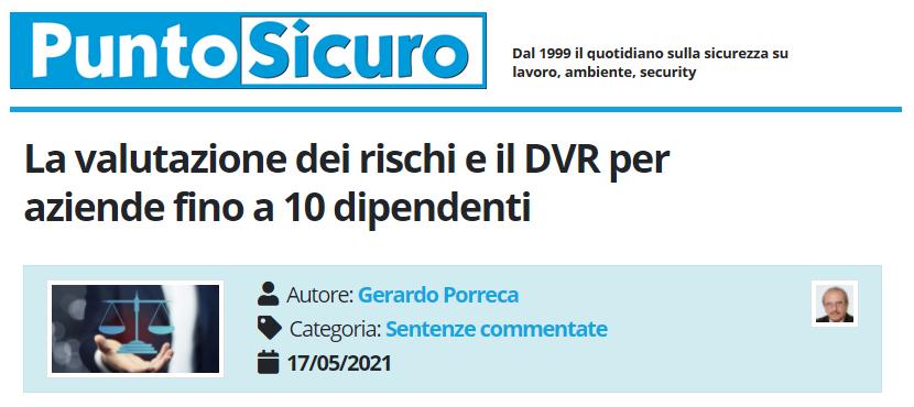 PuntoSicuro - La valutazione dei rischi e il DVR per aziende fino a 10 dipendenti