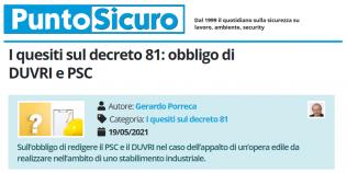 PuntoSicuro - I quesiti sul decreto 81: obbligo di DUVRI e PSC