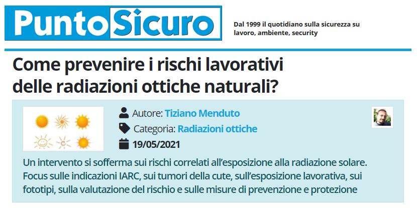 PuntoSicuro - Come prevenire i rischi lavorativi delle radiazioni ottiche naturali?