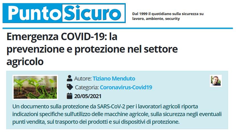 PuntoSicuro - Emergenza COVID-19: la prevenzione e protezione nel settore agricolo