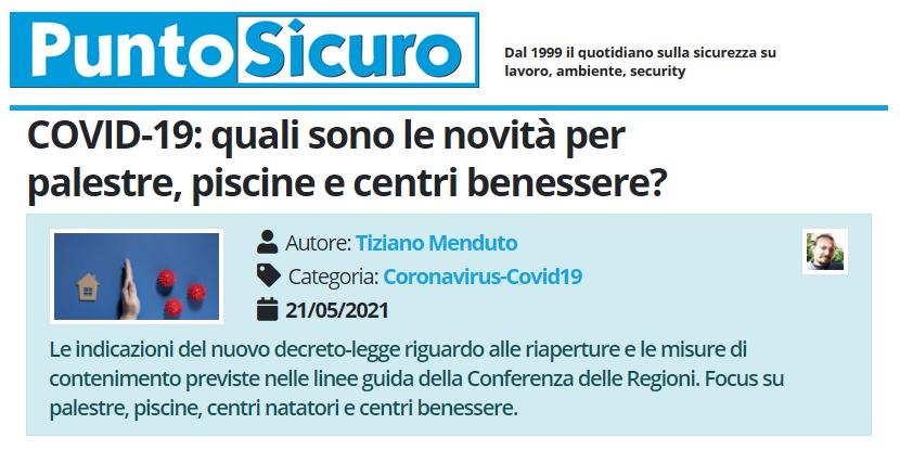 PuntoSicuro - COVID-19: quali sono le novità per palestre, piscine e centri benessere?