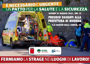 Fermiamo la strage nei luoghi di lavoro - 27 maggio 2021 presso Prefettura di Modena