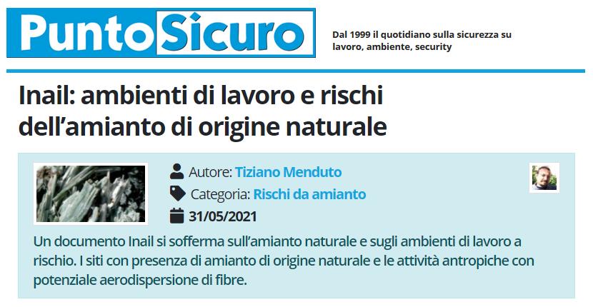 PuntoSicuro - Inail: ambienti di lavoro e rischi dell'amianto di origine naturale