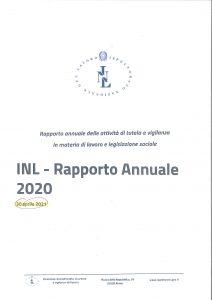 frontespizio report annuale INL 2020
