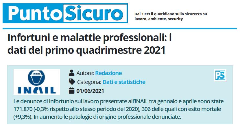 PuntoSicuro - Infortuni e malattie professionali: i dati del primo quadrimestre 2021