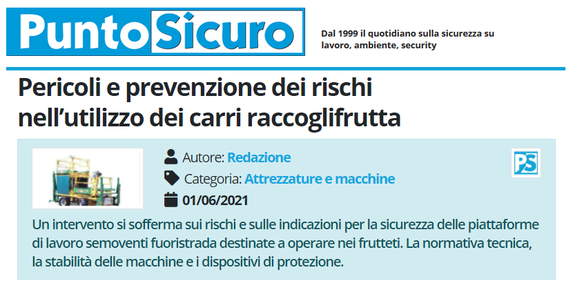 PuntoSicuro - Pericoli e prevenzione dei rischi nell'utilizzo dei carri raccoglifrutta