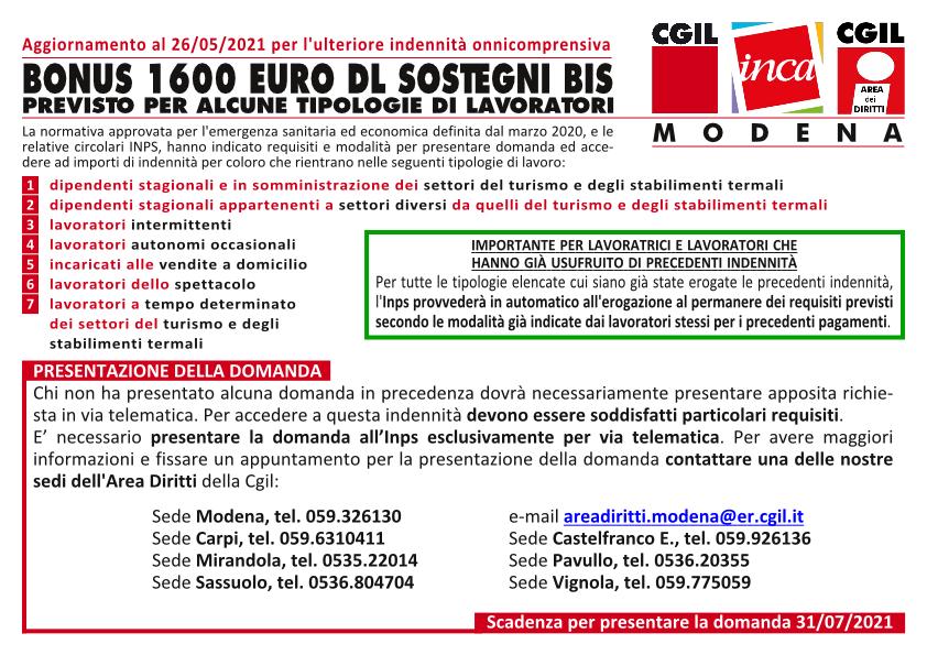 Decreto legge 73/2021, Sostegni bis, indennità una tantum onnicomprensiva di 1600 euro - Aggiornamento del 26 maggio 2021
