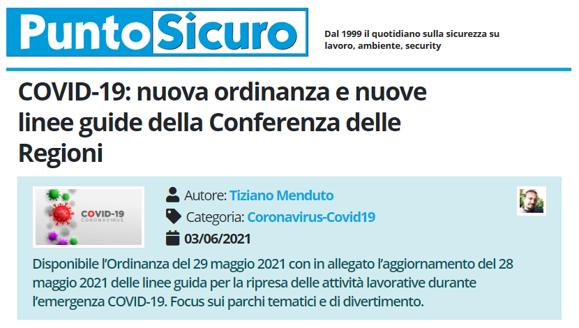 PuntoSicuro - COVID-19: nuova ordinanza e nuove linee guide della Conferenza delle Regioni