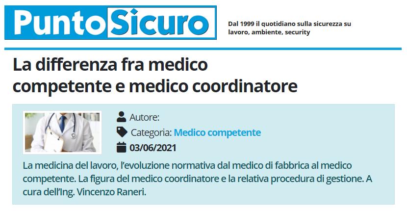 PuntoSicuro - La differenza fra medico competente e medico coordinatore
