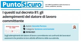 PuntoSicuro - I quesiti sul decreto 81: gli adempimenti del datore di lavoro committente