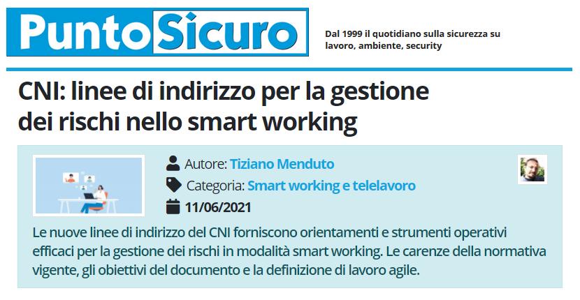 PuntoSicuro - CNI: linee di indirizzo per la gestione dei rischi nello smart working
