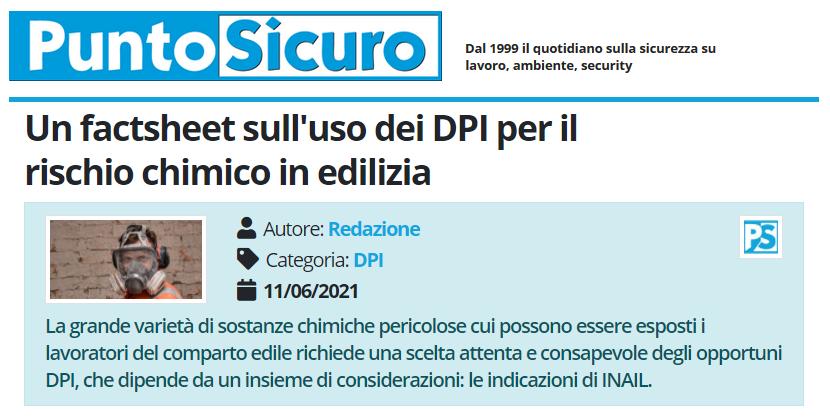 PuntoSicuro - Un factsheet sull'uso dei DPI per il rischio chimico in edilizia