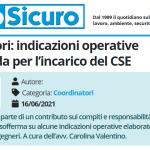 PuntoSicuro - Coordinatori: indicazioni operative e linee guida per l'incarico del coordinatore per l'esecuzione dei lavori (CSE)