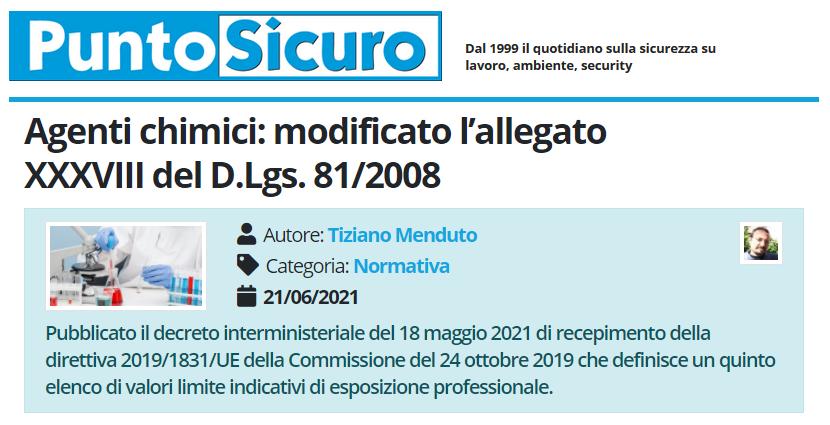 PuntoSicuro - Agenti chimici: modificato l'allegato XXXVIII del D.Lgs. 81/2008